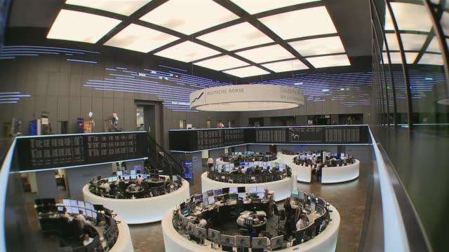 ws business people working in frankfurt stock exchange / hanau, hesse, germany - frankfurt stock exchange stock videos and b-roll footage