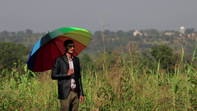 business person holding multicolor umbrella outdoors in the nature - sorghum stock videos & royalty-free footage