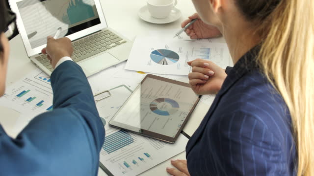 business person team analyzing market research, business strategy - bar chart stock videos & royalty-free footage