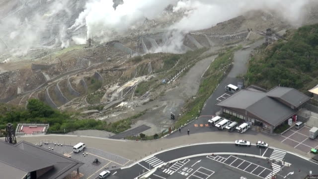 Business persons engaged in retail and tourism on Monday May 18 briefly entered the restricted area near Owakudani valley at Mt Hakone where...