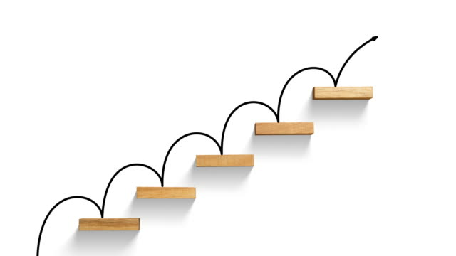 ビジネス グラフに階段上昇 - steps and staircases点の映像素材/bロール