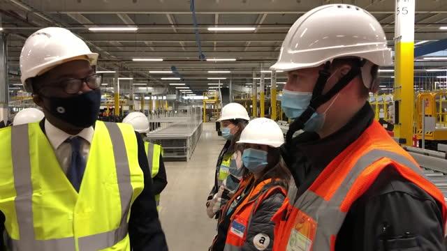 business secretary kwasi kwarteng visiting a new amazon warehouse in gateshead - helmet stock videos & royalty-free footage