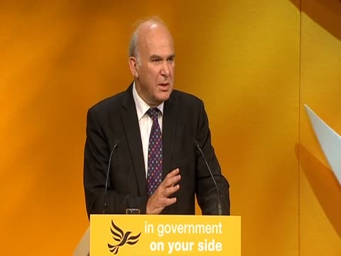 business secretary vince cable on the economic crisis as he adresses the liberal democrat party conference in birmingham, september 2011 - vince cable stock videos & royalty-free footage