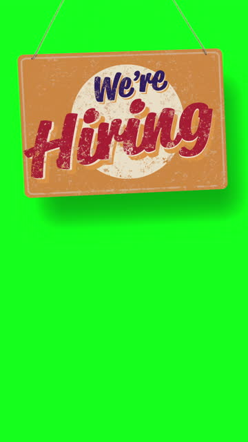 we're hiring business sign drops and swings down with room for copy below - classified ad stock videos & royalty-free footage
