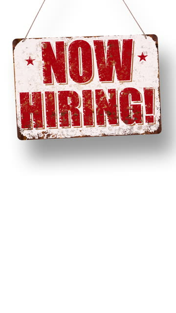 now hiring! business sign drops and swings down with room for copy below - classified ad stock videos & royalty-free footage