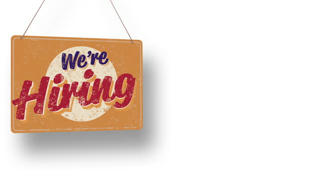 we're hiring business sign drops and swings down with room for copy - classified ad stock videos & royalty-free footage