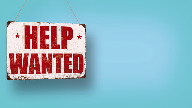 help wanted business sign drops and swings down with room for copy - classified ad stock videos & royalty-free footage