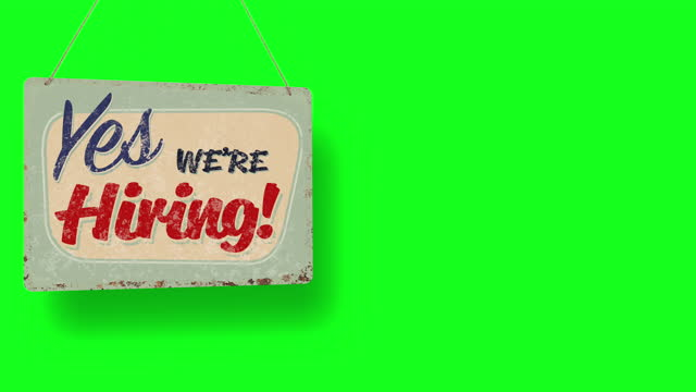 yes we're hiring business sign drops on green screen and swings down with room for copy - classified ad stock videos & royalty-free footage