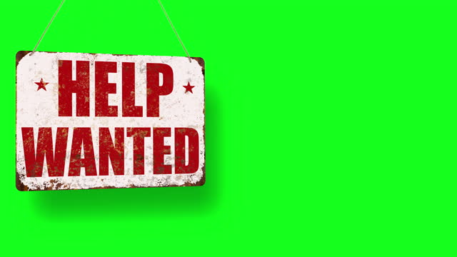 help wanted business sign drops on green screen and swings down with room for copy - classified ad stock videos & royalty-free footage