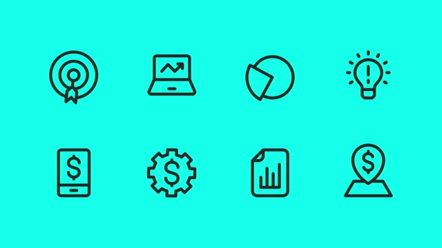 business strategy icons - vector animate - social issues stock videos & royalty-free footage
