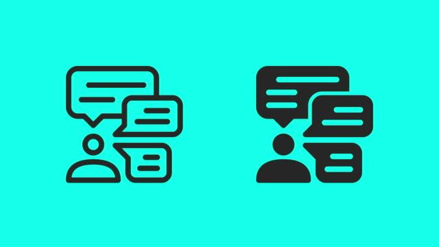 vídeos y material grabado en eventos de stock de iconos de business talk - vector animate - business talk frase corta