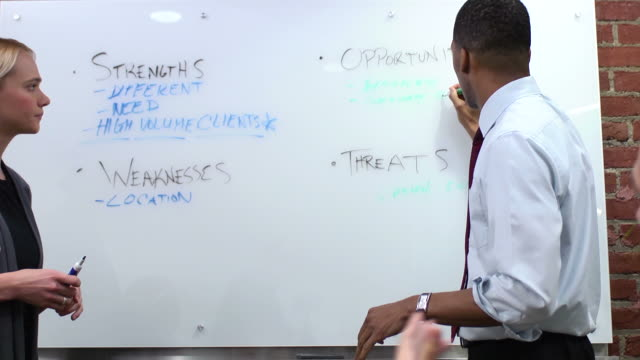 business team brainstorming - mcu - whiteboard stock videos and b-roll footage