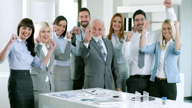 Business team celebrate