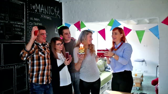 business team celebrating birhday in the office - after work stock videos & royalty-free footage