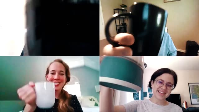 business team ends virtual meeting with a celebratory toast with coffee cups - celebratory event stock videos & royalty-free footage