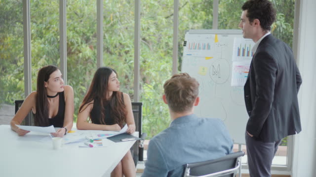 business team having a meeting,dolly shot - whiteboard stock videos & royalty-free footage