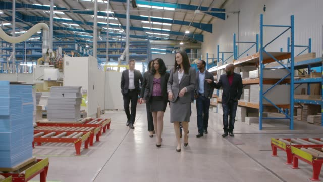business team on a factory visit - visit stock videos & royalty-free footage
