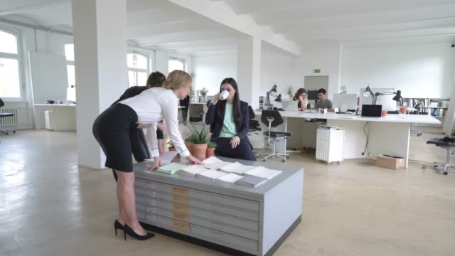 Business team working in a creative office space
