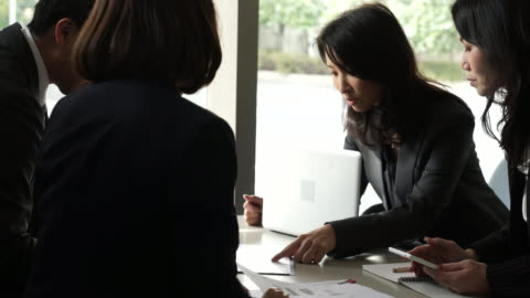 business team working in casual meeting - only japanese stock videos & royalty-free footage