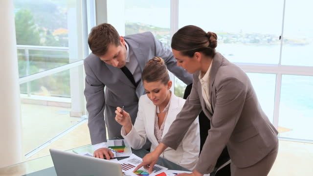 Business team working on documents