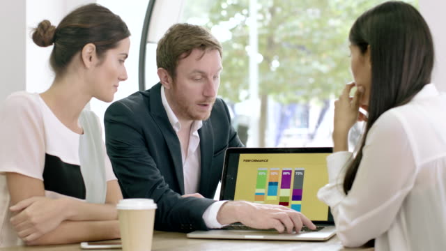 Business team working together on presentation