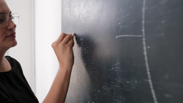 business trainer drawing a diagram on blackboard - blackboard stock videos & royalty-free footage