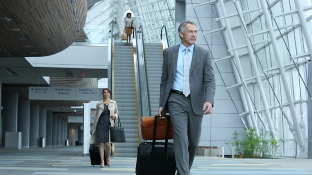 ws pan business travelers walking through airport lobby with luggage / virginia beach, virginia, united states - geschäftsreise stock-videos und b-roll-filmmaterial