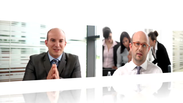 hd montage: business video conference - multiple image stock videos and b-roll footage