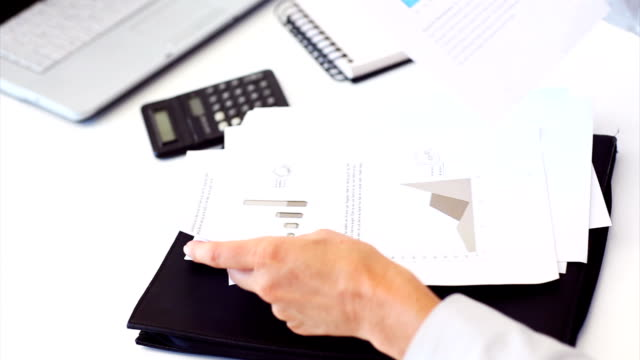 Business woman analyzing financial graphs