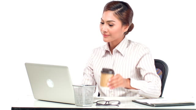 business woman drink coffee - coffee drink stock videos & royalty-free footage
