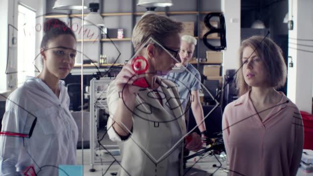 business woman explaining the strategy - uguaglianza video stock e b–roll