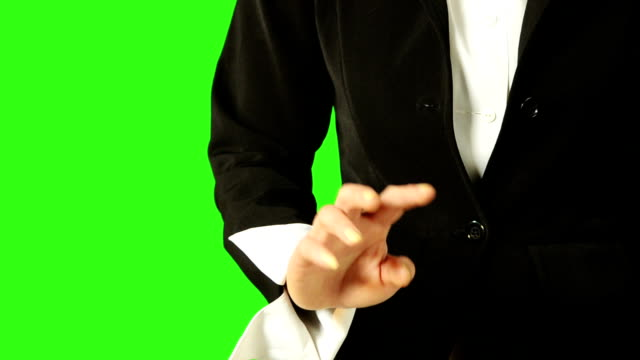 business woman hand moving touchscreen gestures with green screen background - keyable stock videos & royalty-free footage