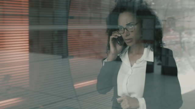 Business woman having discussion on mobile phone