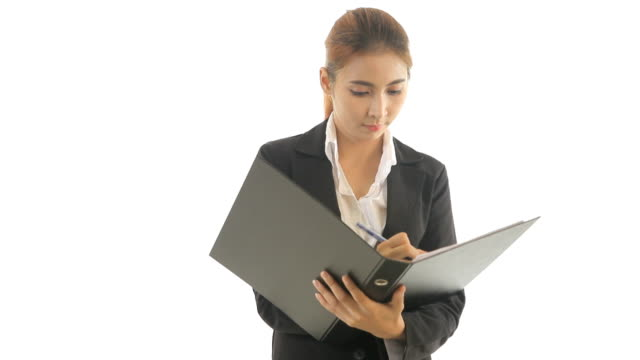 Business woman holding document
