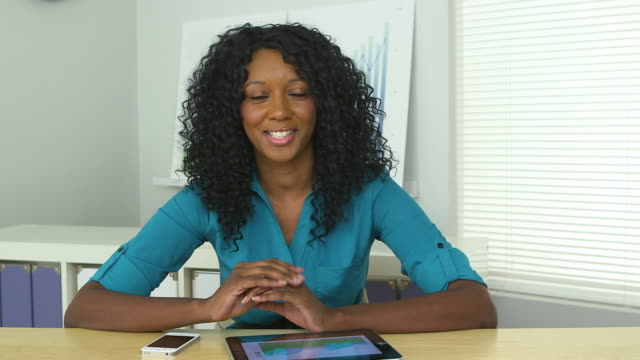 business woman holding video conference
