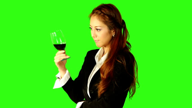 business woman looking at wine with green screen background - keyable stock videos & royalty-free footage