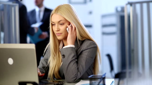 business woman on telephone - blonde hair stock videos & royalty-free footage