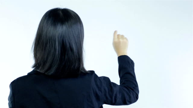 business woman point and click on white background - human limb stock videos & royalty-free footage