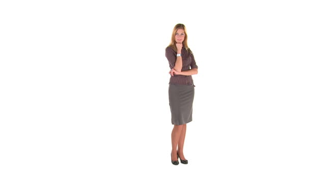 hd: business woman posing - white background stock videos & royalty-free footage