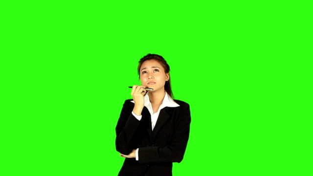 business woman thinking with green screen background - keyable stock videos & royalty-free footage