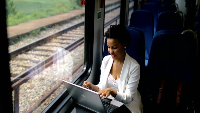 business woman traveling with train - public transport stock videos & royalty-free footage