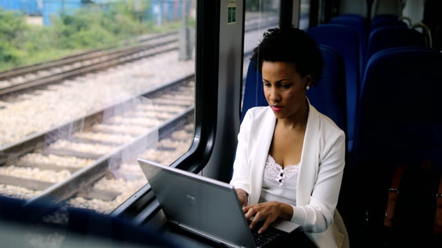 business woman traveling with train - physical activity stock videos & royalty-free footage