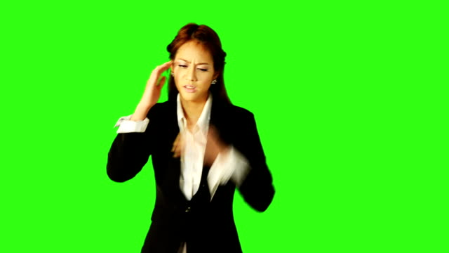 business woman was stress with green screen background - keyable stock videos & royalty-free footage