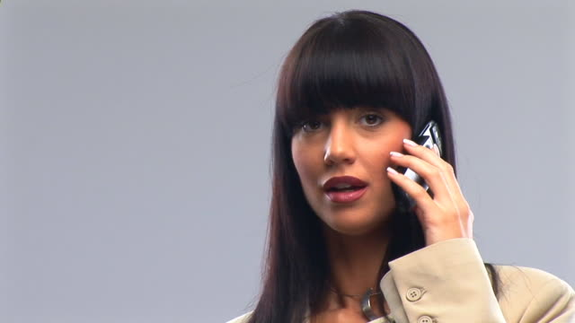 business woman with the phone - bangs stock videos & royalty-free footage