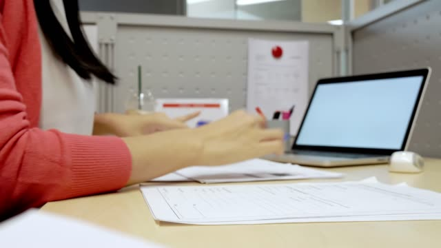 business woman working on paper document report at office. - report stock videos & royalty-free footage