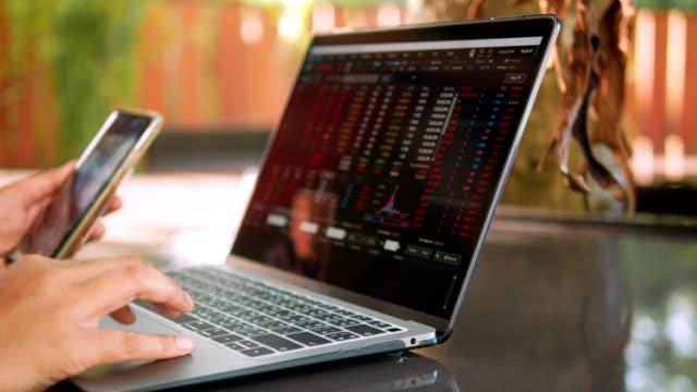 ビジネスウーマンはカフェでノートパソコンで働いています。 - グラフ点の映像素材/bロール
