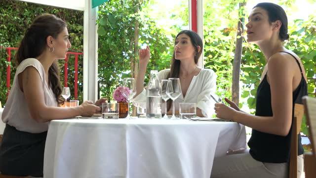 高級レストランでのビジネスウーマンミーティング - スペイン・ポルトガル系民族点の映像素材/bロール