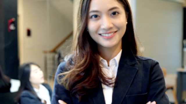 business women smiling happy for working - asian stock videos & royalty-free footage