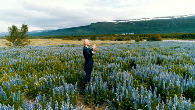 Businessman admiring meadow full of flowers