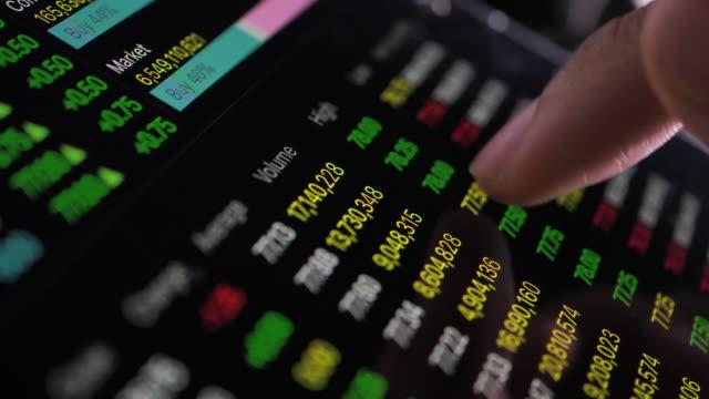 businessman analyzing on business financial stock - asta oggetto creato dall'uomo video stock e b–roll